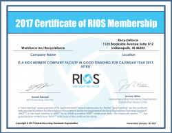 RecycleForce Obtains R2 and RIOS Certification